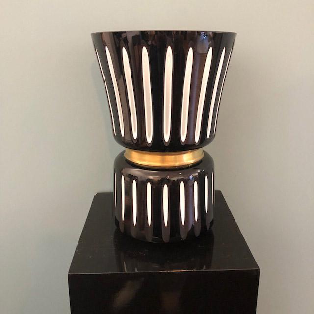Vase schwarz-weiss-gold